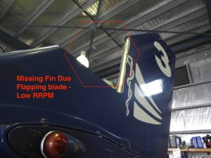 Rotor Blades have large flapping range especially at slow Rotor RPM - note piece taken out of vertical fins on BK117 while rotor coasting down.